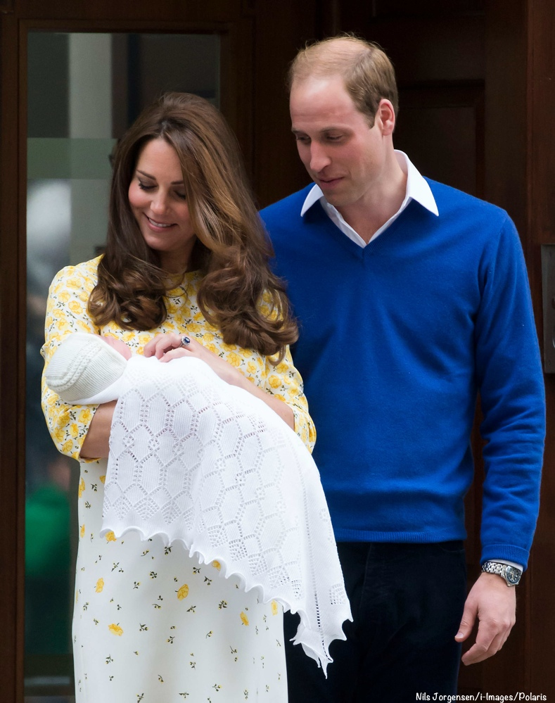 May 2, 2015 - London, United Kingdom: The Duke and Duchess of Cambridge leave the Lindo Wing at St Mary's Hospital with their baby girl. (Nils Jorgensen / i-Images / Polaris) /// Duke & Duchess of Cambridge with baby daughter