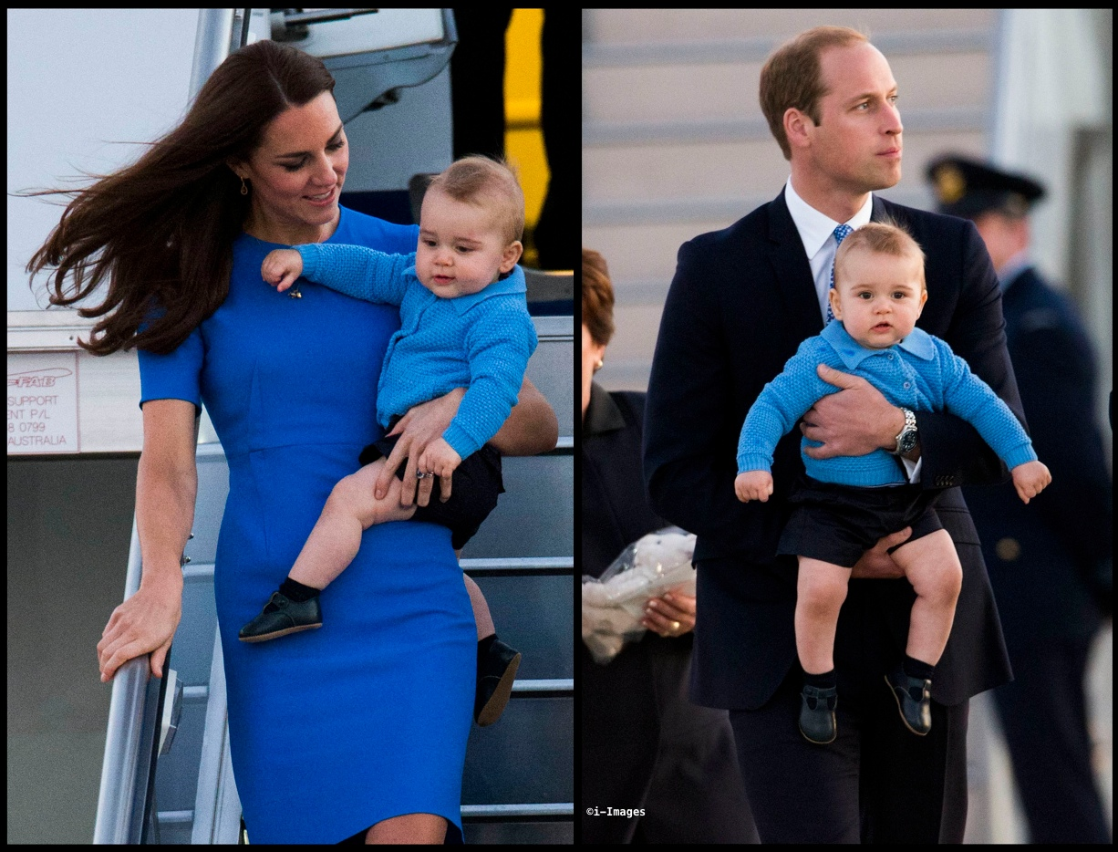 Kate with George William Carries George Canberra Arrival April 2014 i-Images