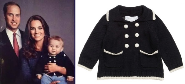 George Kate William 2014 Tour Thank You Family Photo navy Powell Powellcraft Double Breasted Sweater