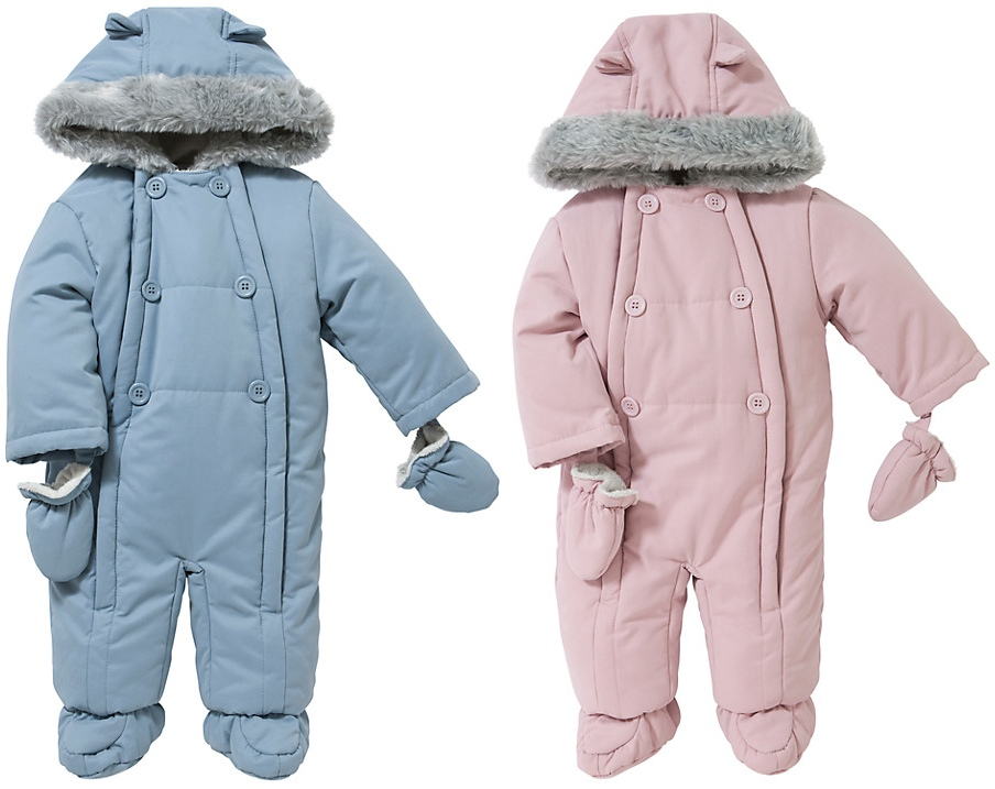John Lewis Baby Wadded Snowsuit in Blue and Pink like Charlotte's white March 7 2016