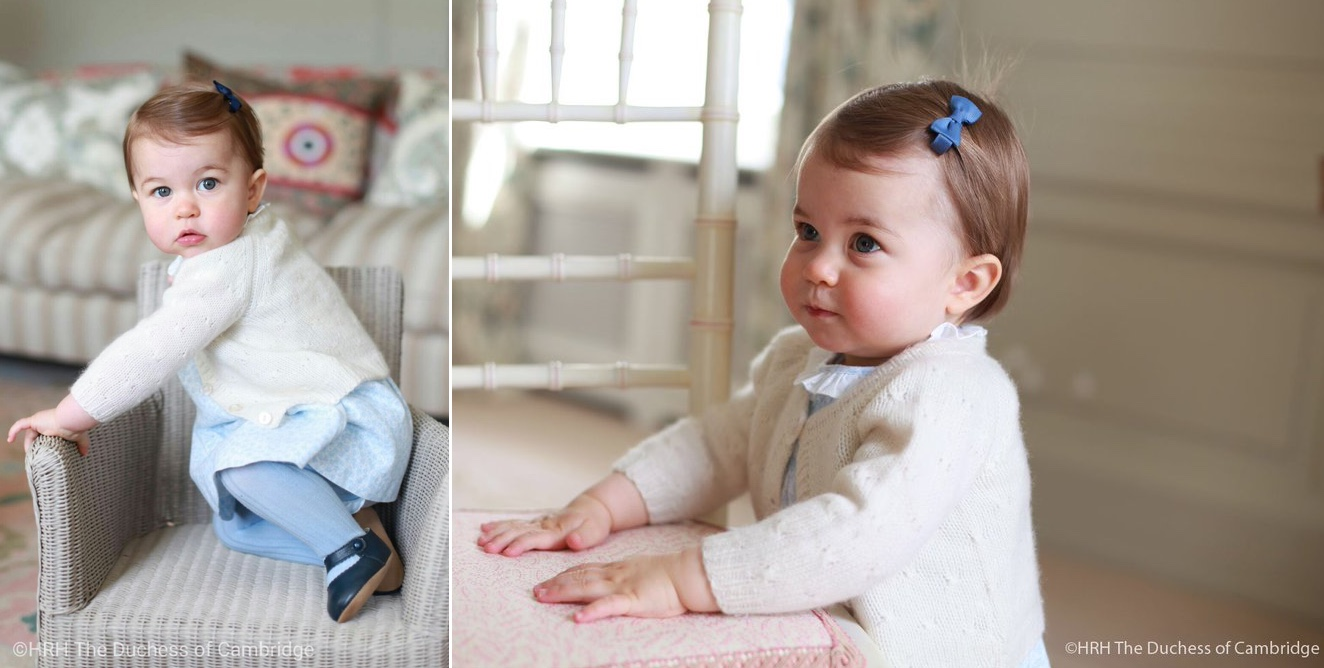 Princess Charlotte First 1st Birthday Photos Two 2 in Blue Floral Dress Tights May 1 2016