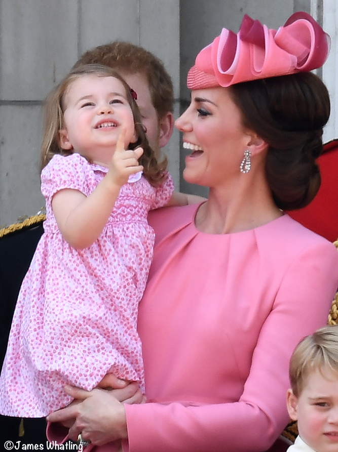 Princess Charlotte Trooping Colour in Kate's Arms Pink Dress