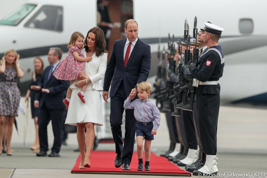 Prince George Charlotte Duke Duchess Poland Warsaw Tour Arrival photos