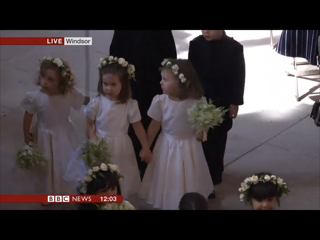 What kates kids wore george charlotte just like what uncle in the screenshots below from the bbc news we see the girls florence charlotte and zalie and their bouquets that match the brides izmirmasajfo